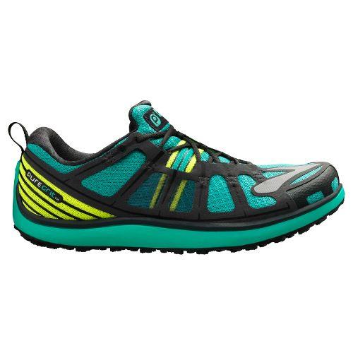 Womens Brooks PureGrit 2 Trail Running Shoe - Green/Neon 11.5