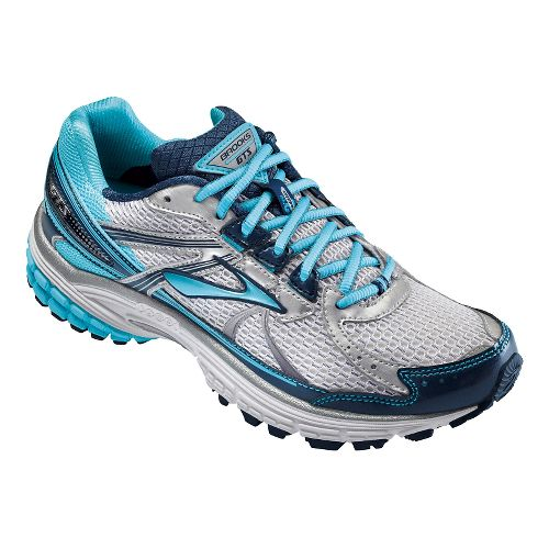 Womens Brooks Adrenaline GTS 13 Running Shoe - Silver/Blue 10.5
