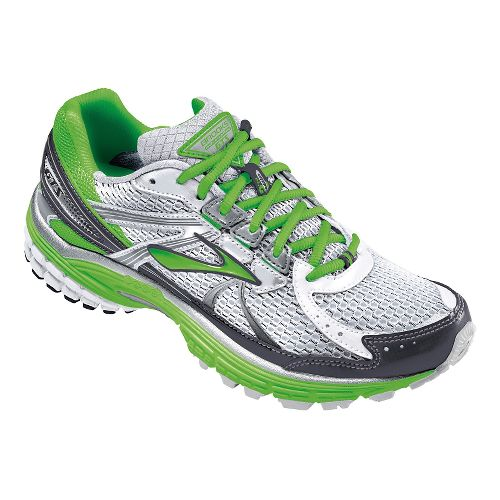 Womens Brooks Adrenaline GTS 13 Running Shoe - Silver/Green 8.5