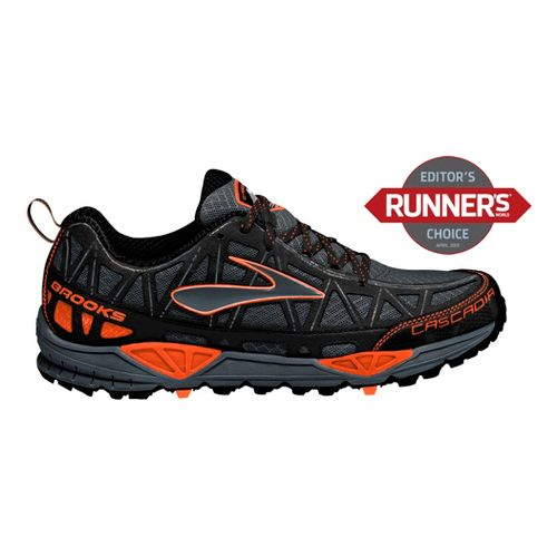 Mens Brooks Cascadia 8 Trail Running Shoe - Black/Orange 12.5