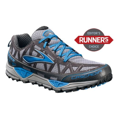 Mens Brooks Cascadia 8 Trail Running Shoe - Grey/Blue 10
