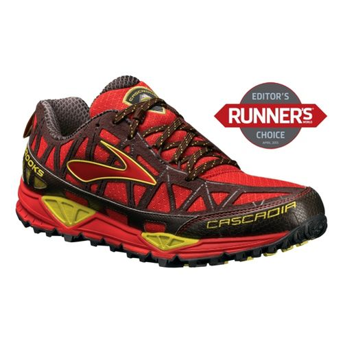 Mens Brooks Cascadia 8 Trail Running Shoe - Red/Yellow 10.5