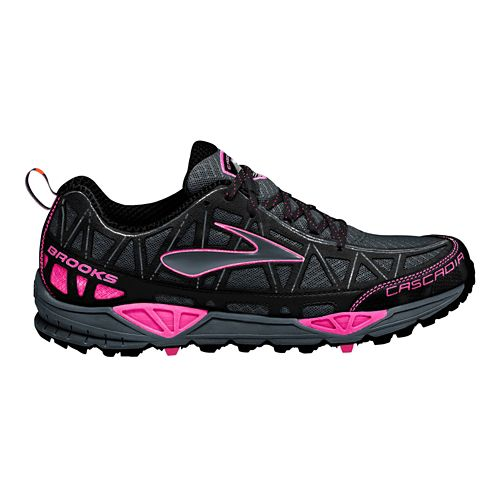 Womens Brooks Cascadia 8 Trail Running Shoe - Black/Pink 7.5