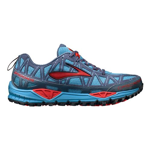 Womens Brooks Cascadia 8 Trail Running Shoe - Blue/Pink 5