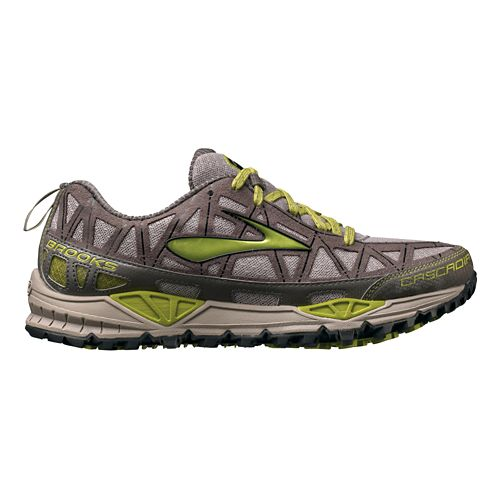 Womens Brooks Cascadia 8 Trail Running Shoe - Grey/Green 7.5