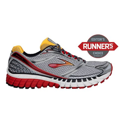 Mens Brooks Ghost 6 Running Shoe - Silver/Red 11.5