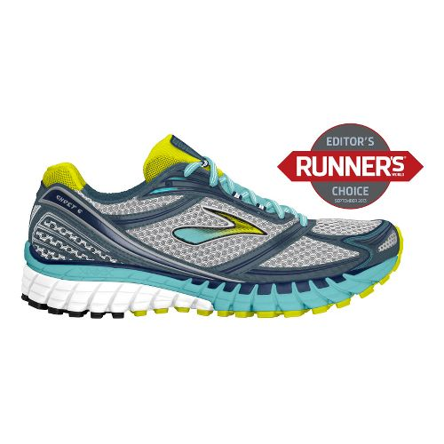 Womens Brooks Ghost 6 Running Shoe - Silver/Aqua 7.5