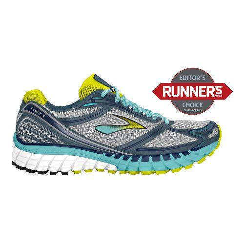 Womens Brooks Ghost 6 Running Shoe - Silver/Aqua 9.5
