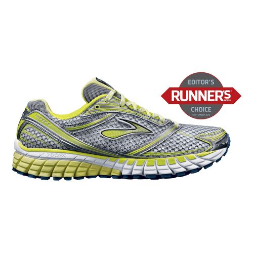 Womens Brooks Ghost 6 Running Shoe - Silver/Neon 11