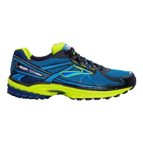 Mens Brooks Adrenaline ASR 10 Trail Running Shoe - Blue/Lime 10