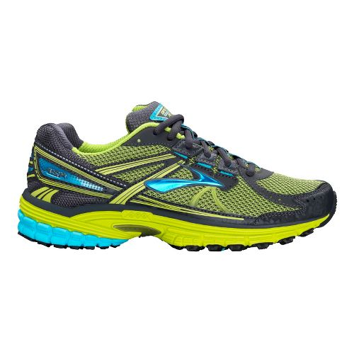 Womens Brooks Adrenaline ASR 10 Trail Running Shoe - Citron/Blue 6.5