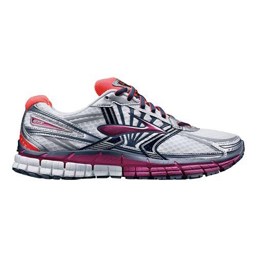 Womens Brooks Adrenaline GTS 14 Running Shoe - White/Pink 6.5