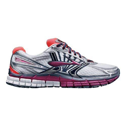 Womens Brooks Adrenaline GTS 14 Running Shoe - White/Pink 8