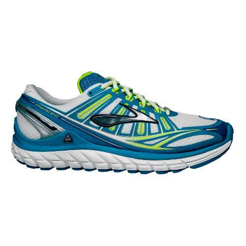 Womens Brooks Transcend Running Shoe - White/Blue 10.5