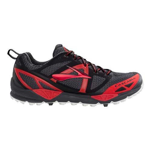 Mens Brooks Cascadia 9 Trail Running Shoe - Charcoal/Red 7.5