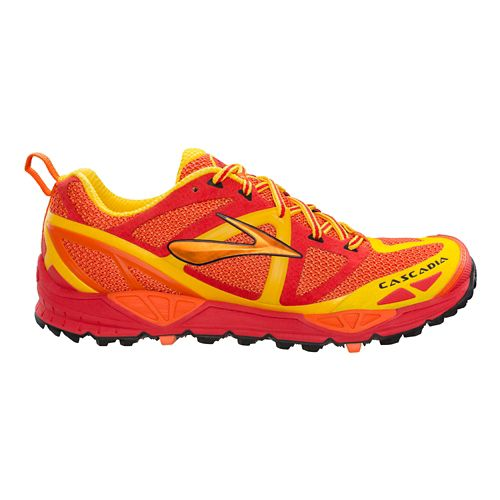 Mens Brooks Cascadia 9 Trail Running Shoe - Red/Yellow 8.5
