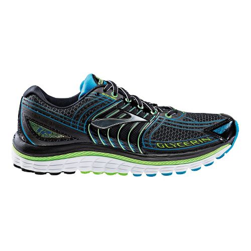 Mens Brooks Glycerin 12 Running Shoe - Black/Green 10.5
