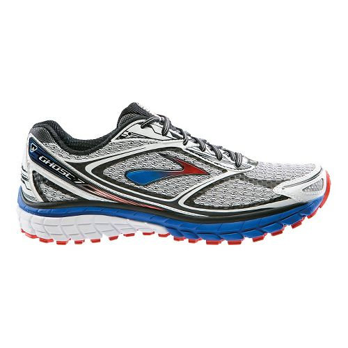 Mens Brooks Ghost 7 Running Shoe - White/Electric 11.5