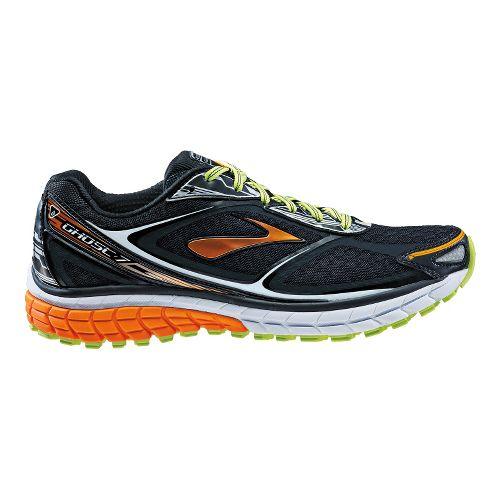 Mens Brooks Ghost 7 Running Shoe - Black/Orange Peel 8