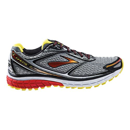 Mens Brooks Ghost 7 Running Shoe - Grey/Red 11.5