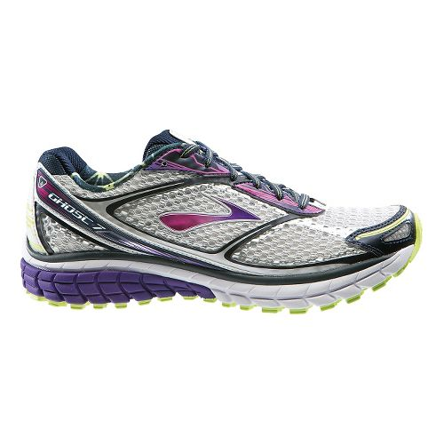 Womens Brooks Ghost 7 Running Shoe - White/Purple 9.5