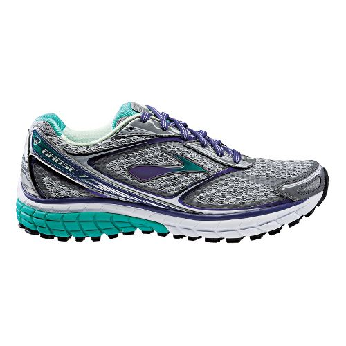 Womens Brooks Ghost 7 Running Shoe - Grey/Green 5