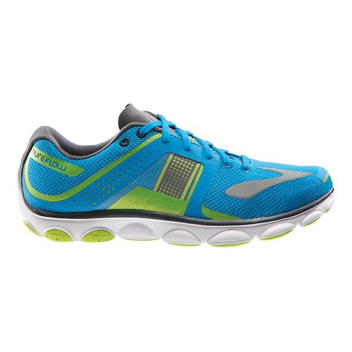 Mens Brooks PureFlow 4 Running Shoe - Blue/Green 10