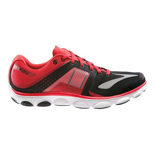 Mens Brooks PureFlow 4 Running Shoe - Red/Black 7.5