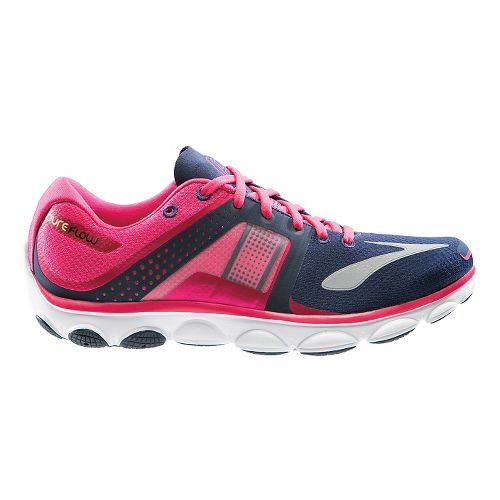 Womens Brooks PureFlow 4 Running Shoe - Pink/Navy 11.5