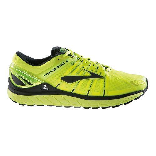 Mens Brooks Transcend 2 Running Shoe - Lime Punch/Black 10.5