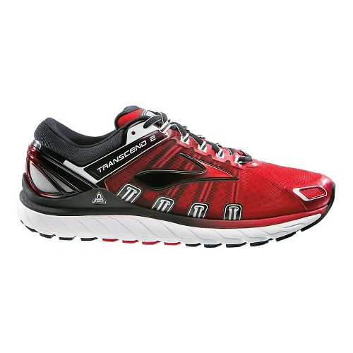 Mens Brooks Transcend 2 Running Shoe - Red/Black 10.5