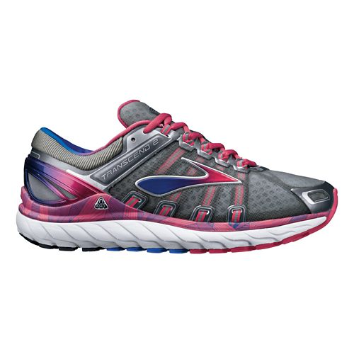 Womens Brooks Transcend 2 Running Shoe - Grey/Raspberry 5.5