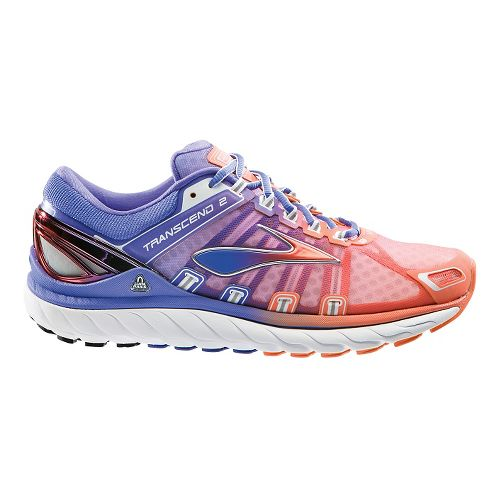 Womens Brooks Transcend 2 Running Shoe - Purple/Coral 7.5