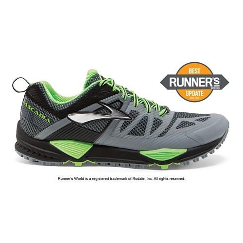Mens Brooks Cascadia 10 Trail Running Shoe - Grey/Green 12