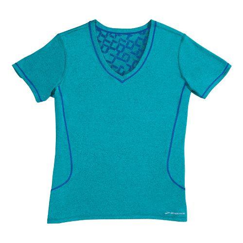 Womens Brooks Versatile Printed III Short Sleeve Technical Tops - Teal L
