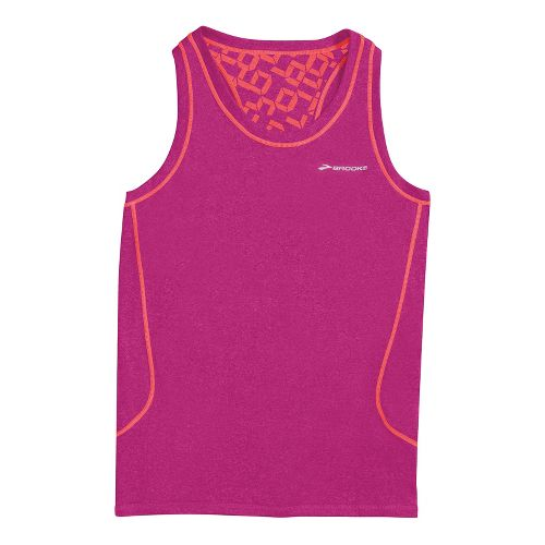 Womens Brooks Versatile Printed Racerback III Sleeveless Technical Tops - Fuschia S