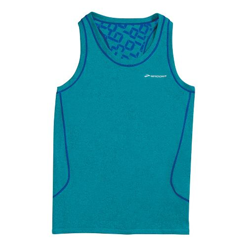 Womens Brooks Versatile Printed Racerback III Sleeveless Technical Tops - Teal M