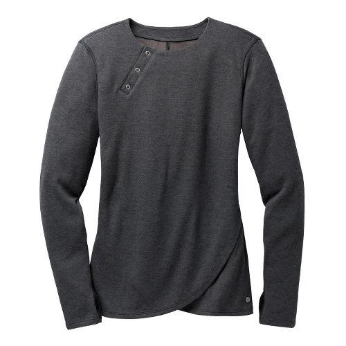 Womens Brooks PureProject Henley Long Sleeve No Zip Technical Tops - Charcoal XL