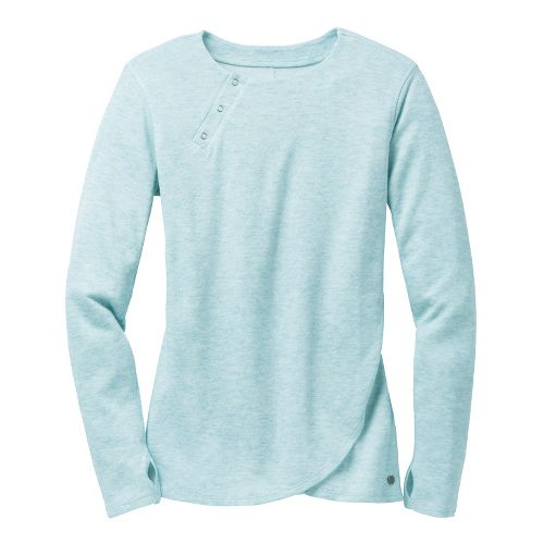 Womens Brooks PureProject Henley Long Sleeve No Zip Technical Tops - Seabreeze L
