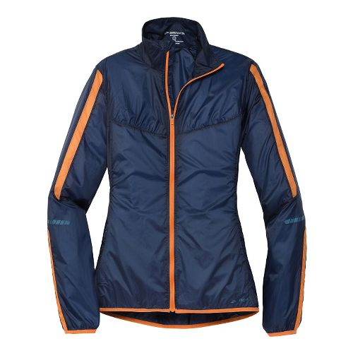 Womens Brooks LSD Lite IV Running Jackets - Midnight Blue/Orange Crush M
