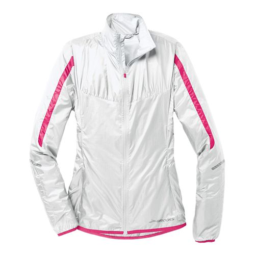 Womens Brooks LSD Lite IV Running Jackets - White/Brite Pink XL