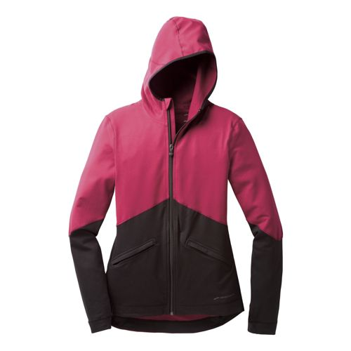 Womens Brooks Utopia Thermal Hoodie III Warm-Up Hooded Jackets - Jam Berry/Black L