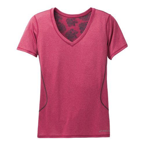 Womens Brooks Versatile Printed III Short Sleeve Technical Tops - Jam Berry/Heather M