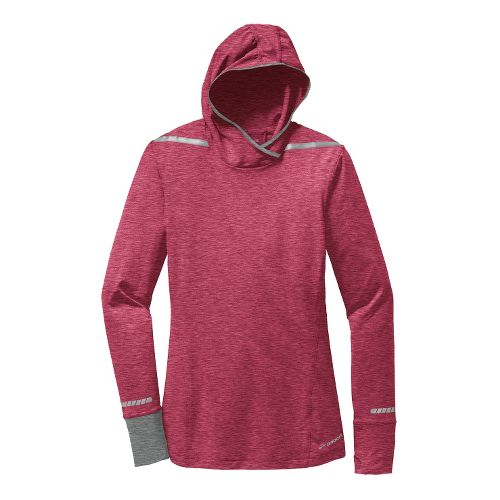 Womens Brooks Nightlife Long Sleeve No Zip Technical Tops - Jam Berry/Heather M