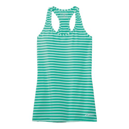 Womens Brooks Bring It Racerback Tanks Technical Top - Green Glass S