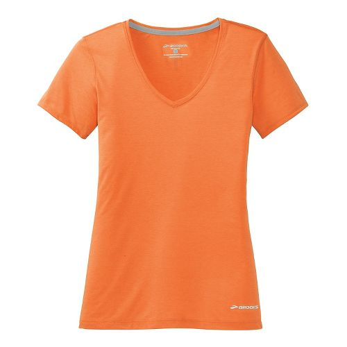 Womens Brooks Versatile Printed Short Sleeve IV Technical Top - Orange Crush L