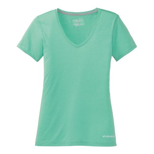 Womens Brooks Versatile Printed Short Sleeve IV Technical Top - Sea Foam Green L