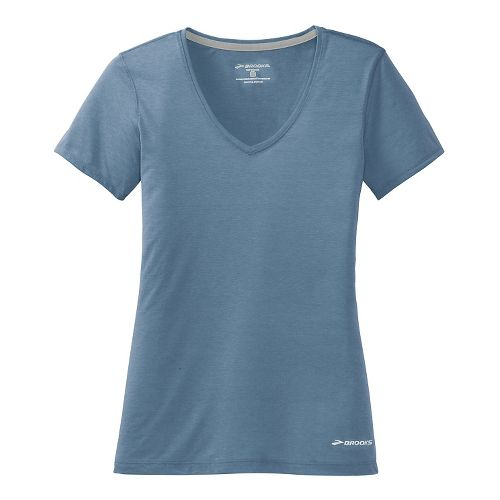 Womens Brooks Versatile Printed Short Sleeve IV Technical Top - Storm L