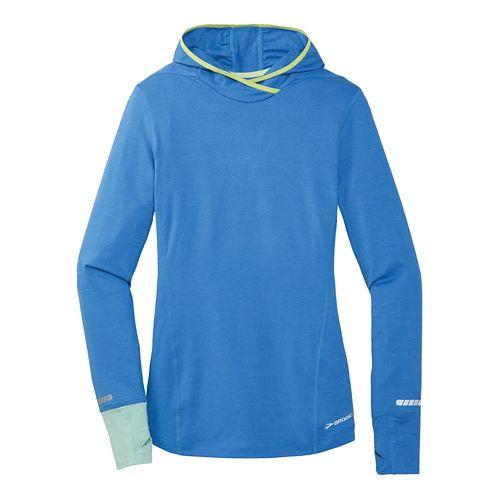 Womens Brooks Essential Long Sleeve No Zip Hoodie Technical Top - Cornflower XL
