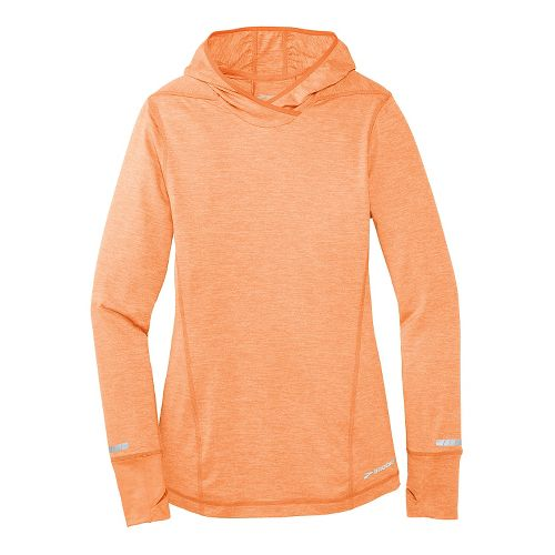 Womens Brooks Essential Long Sleeve No Zip Hoodie Technical Top - Orange Crush L
